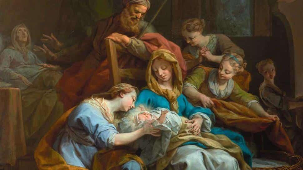 Jean Restout, La naissance de la Vierge, 1744, détail, accueil de la naissance